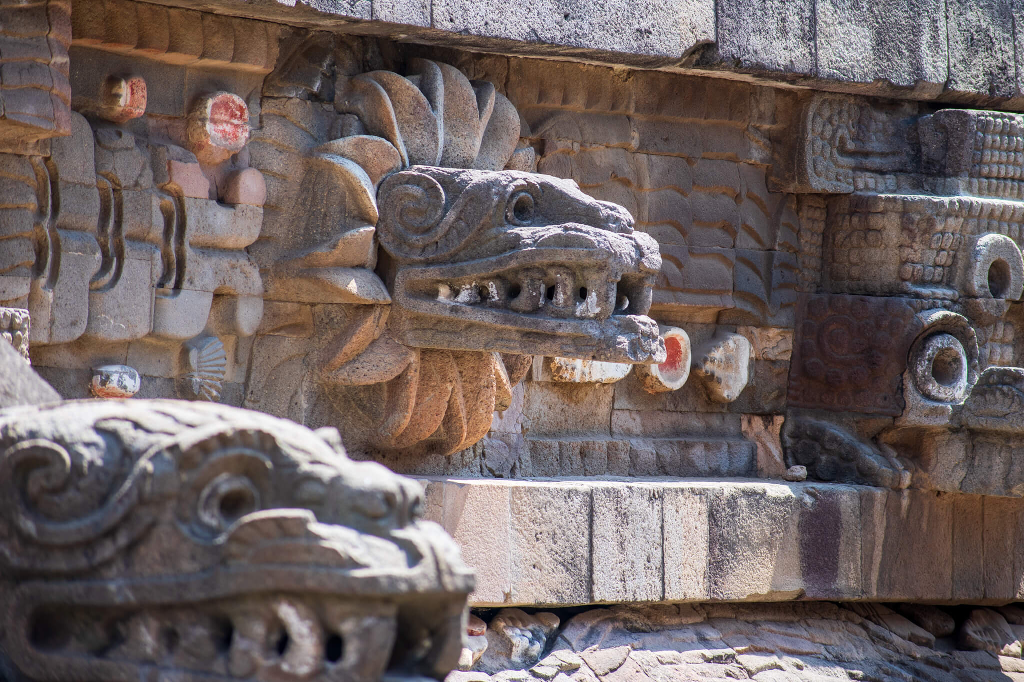 Quetzalcoatl statue head on Temple of Quetzalcaotl Teotihuacan