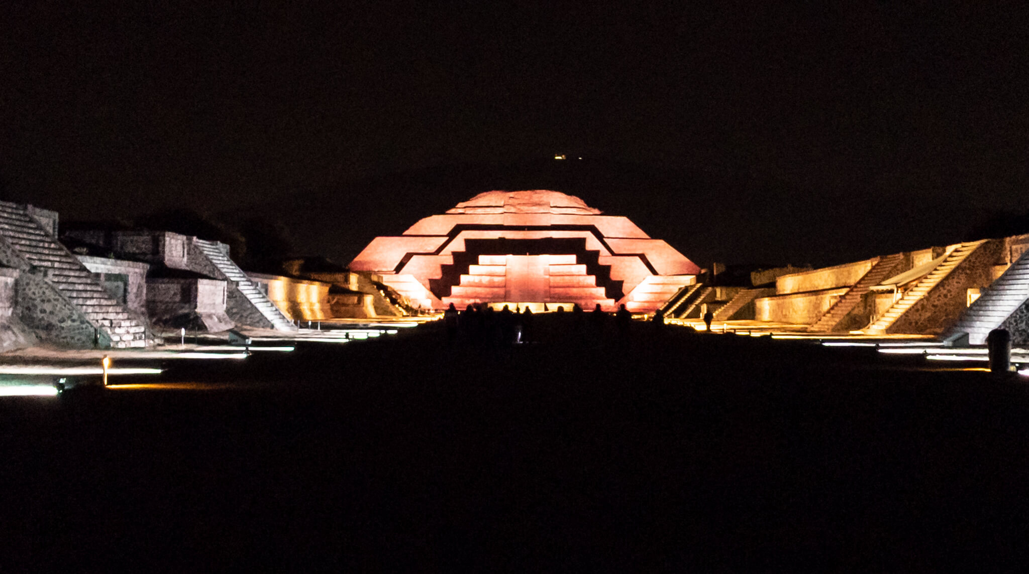 Night Experience Teotihuacan Pyramid of the Moon lit at night