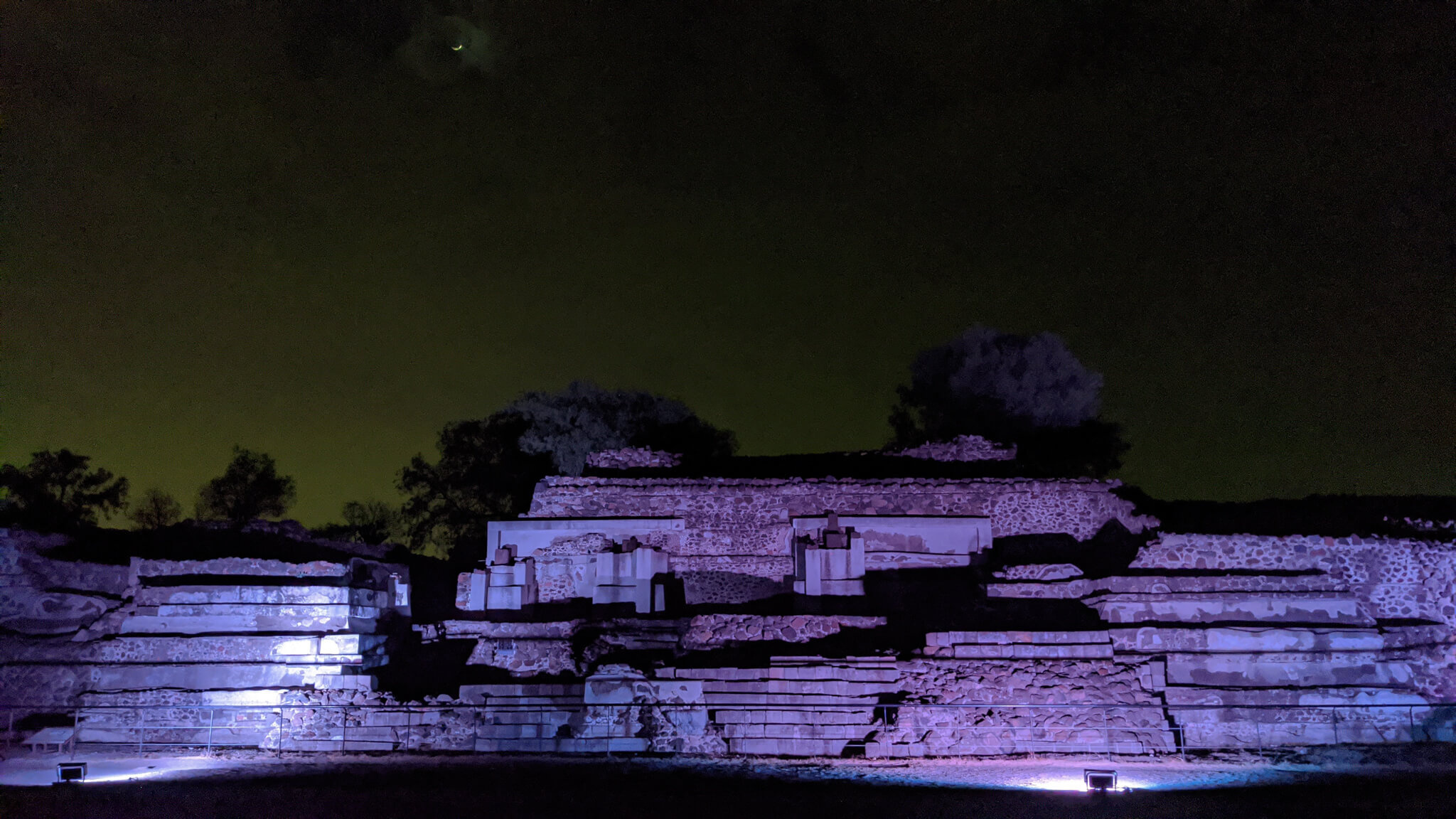 Seed vault lit at night Teotihuacan night experience