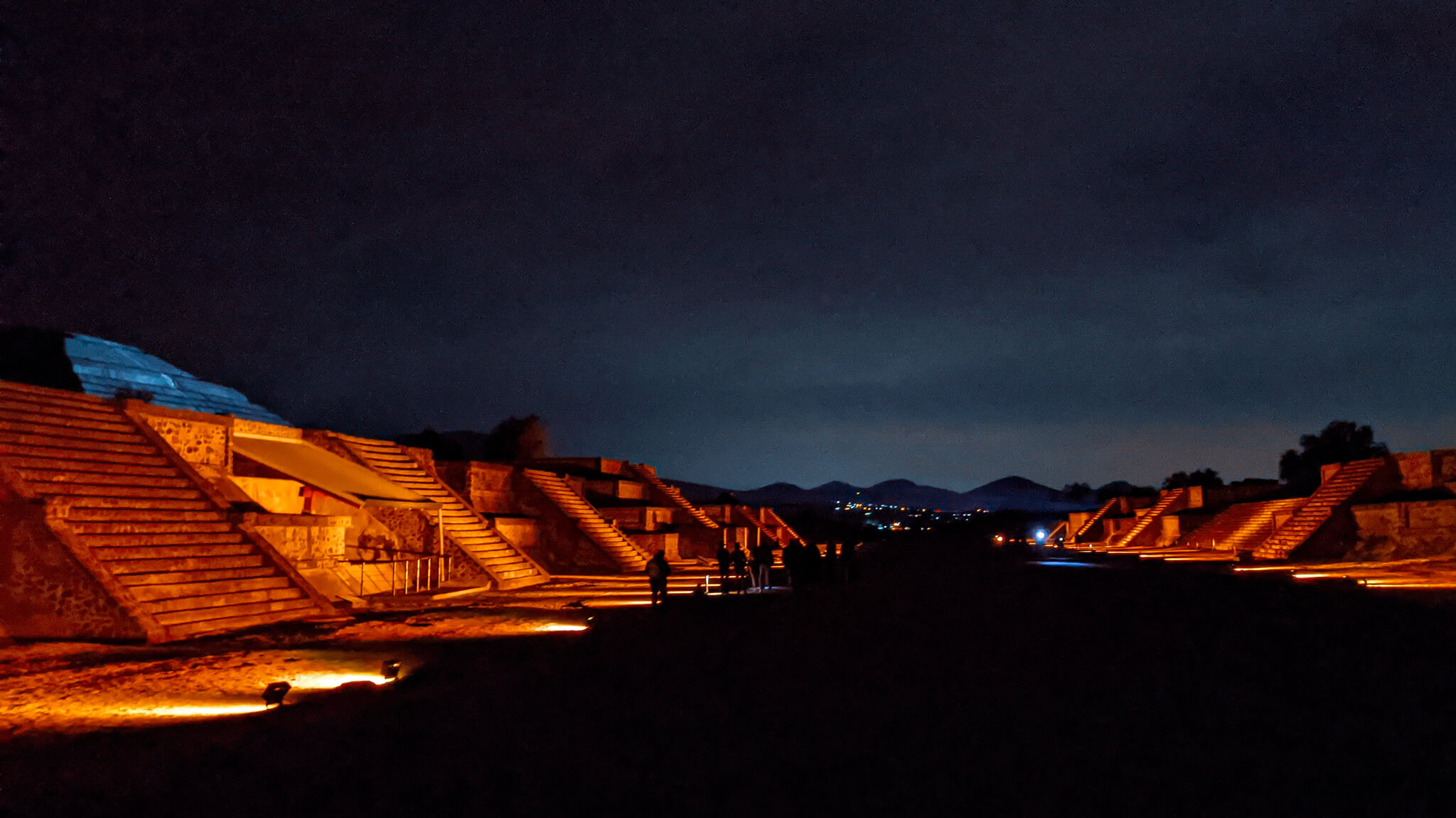 Avenue of the Dead lit at night Teotihuacan