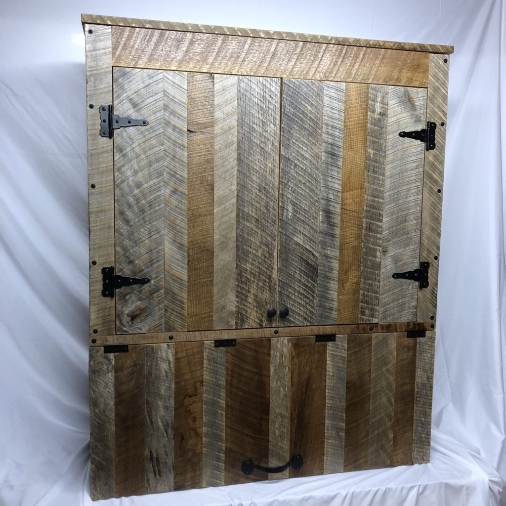 Reclaimed Barn Wood Cabinet with Adjustable Shelving and Soft Close Bottom Storage