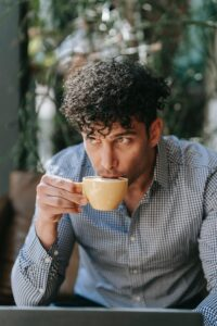 Man drinking hot tea