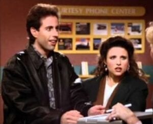 Jerry and Elaine Signing Will documents on Seinfeld