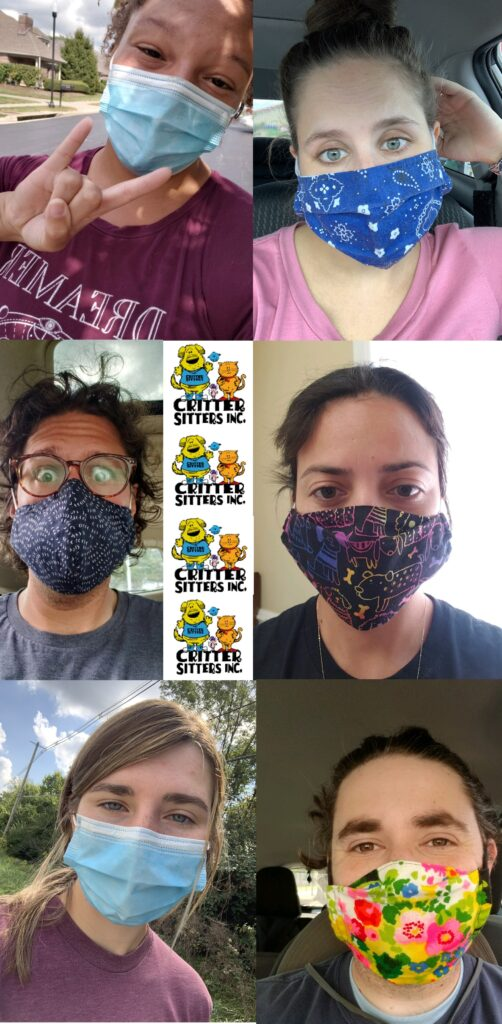 critter sitters dog walkers covid masks