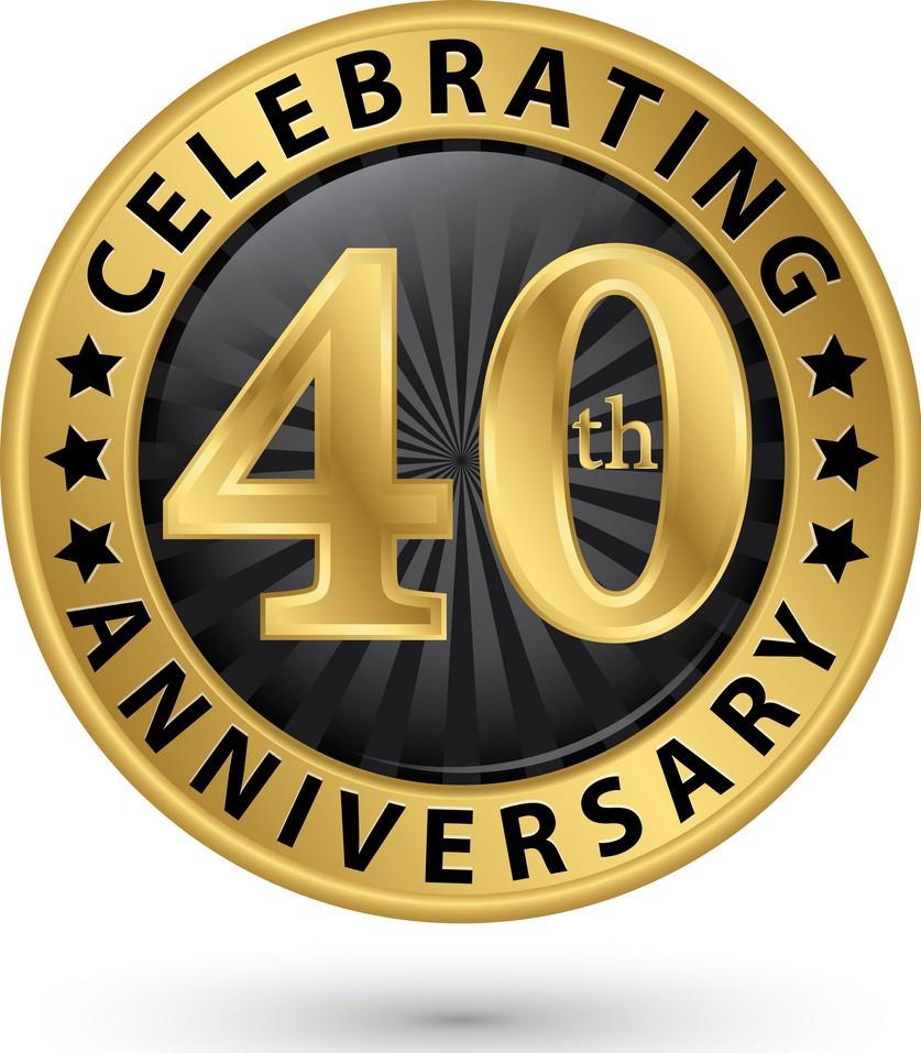 Celebrating 40th anniversary gold label, vector illustration
