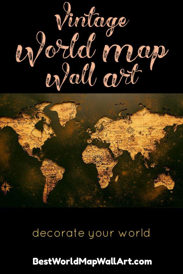 Vintage Map Wall Hanging by BestWorldMapWallArt.com