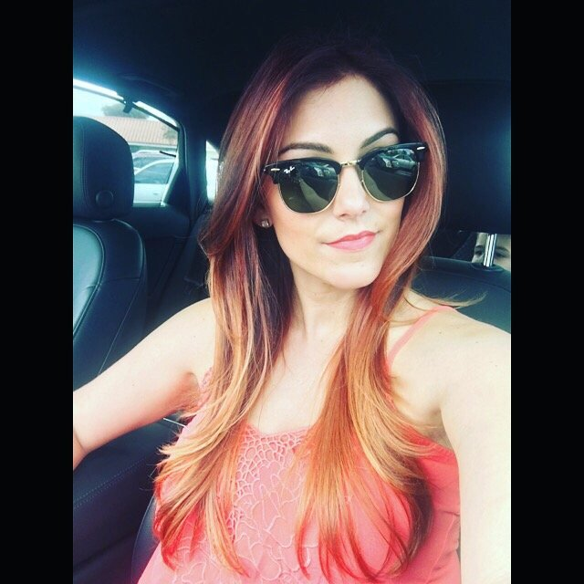 Beautiful woman with sunglasses and styled hair