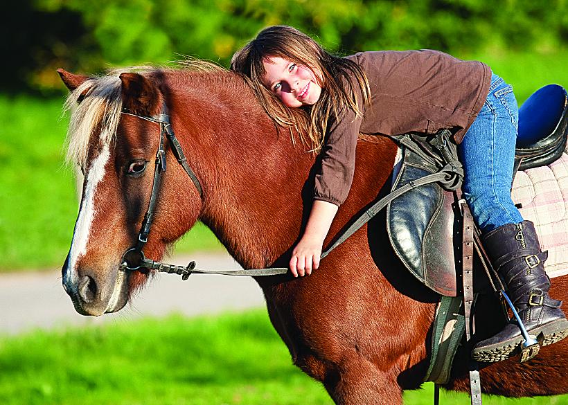 Little girl hugging horse