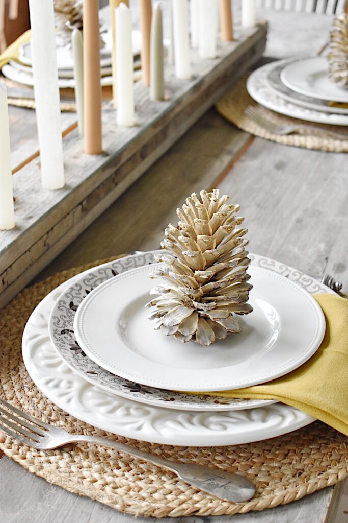 fall tablesetting with bleached pinecones