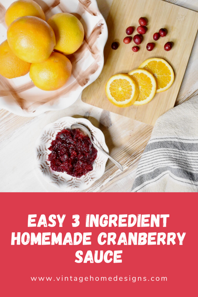 Easy 3 ingredient homemade cranberry sauce