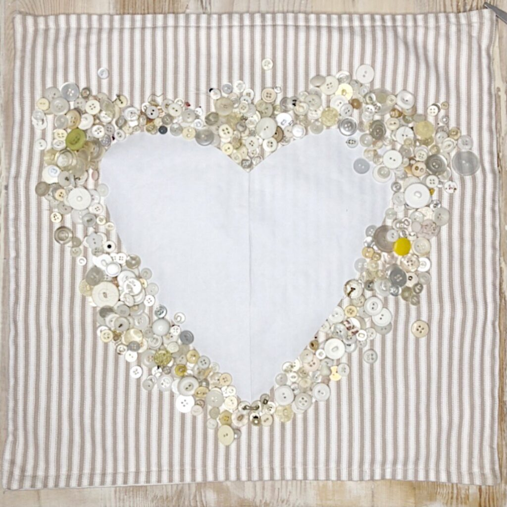 heart pillow with vintage buttons