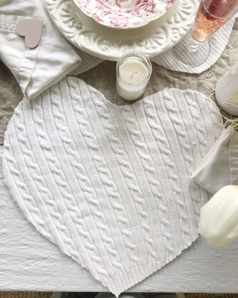Heart shaped sweater placemats