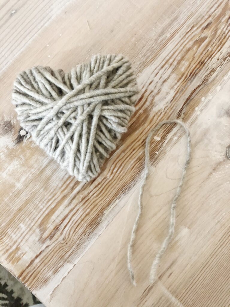 yarn for hanging heart