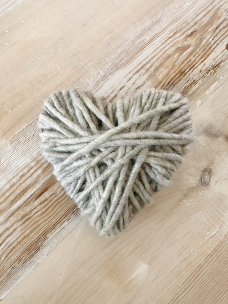 finished yarn wrapped heart