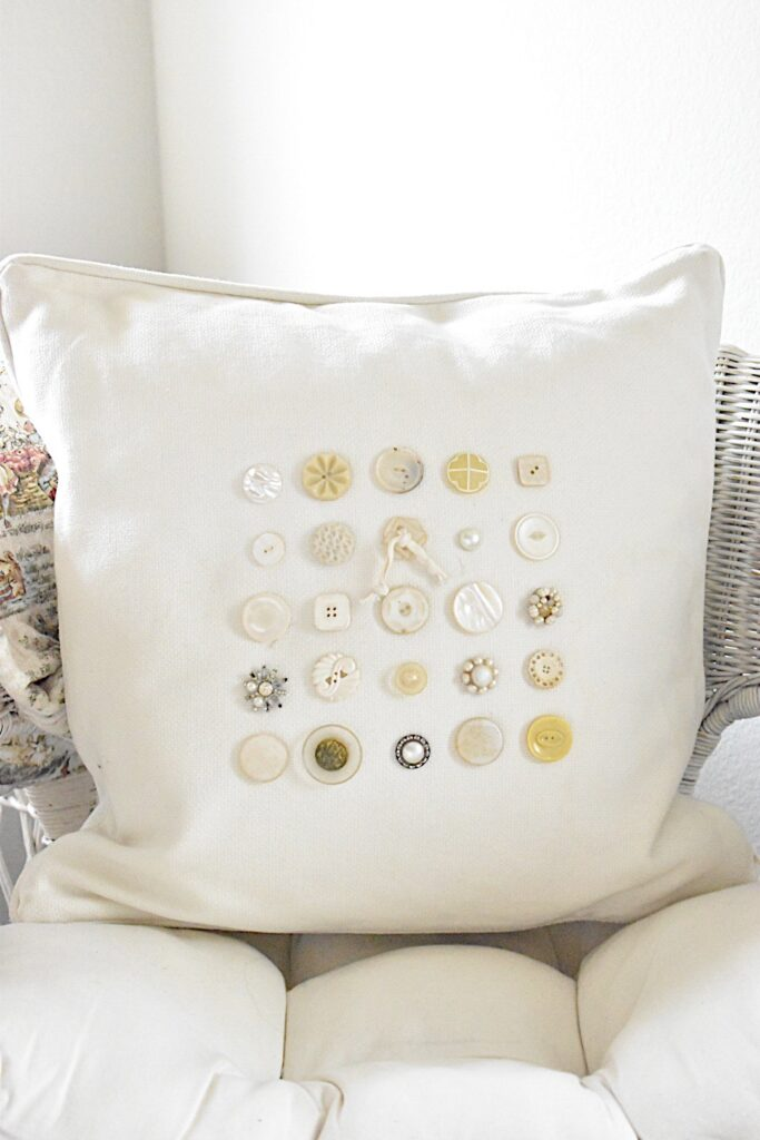 pillow with vintage buttons