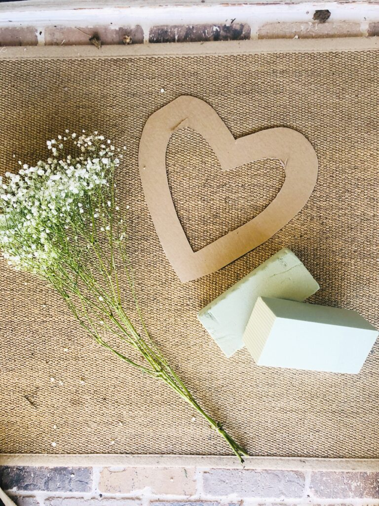 supplies for heart shaped babys breath wreath