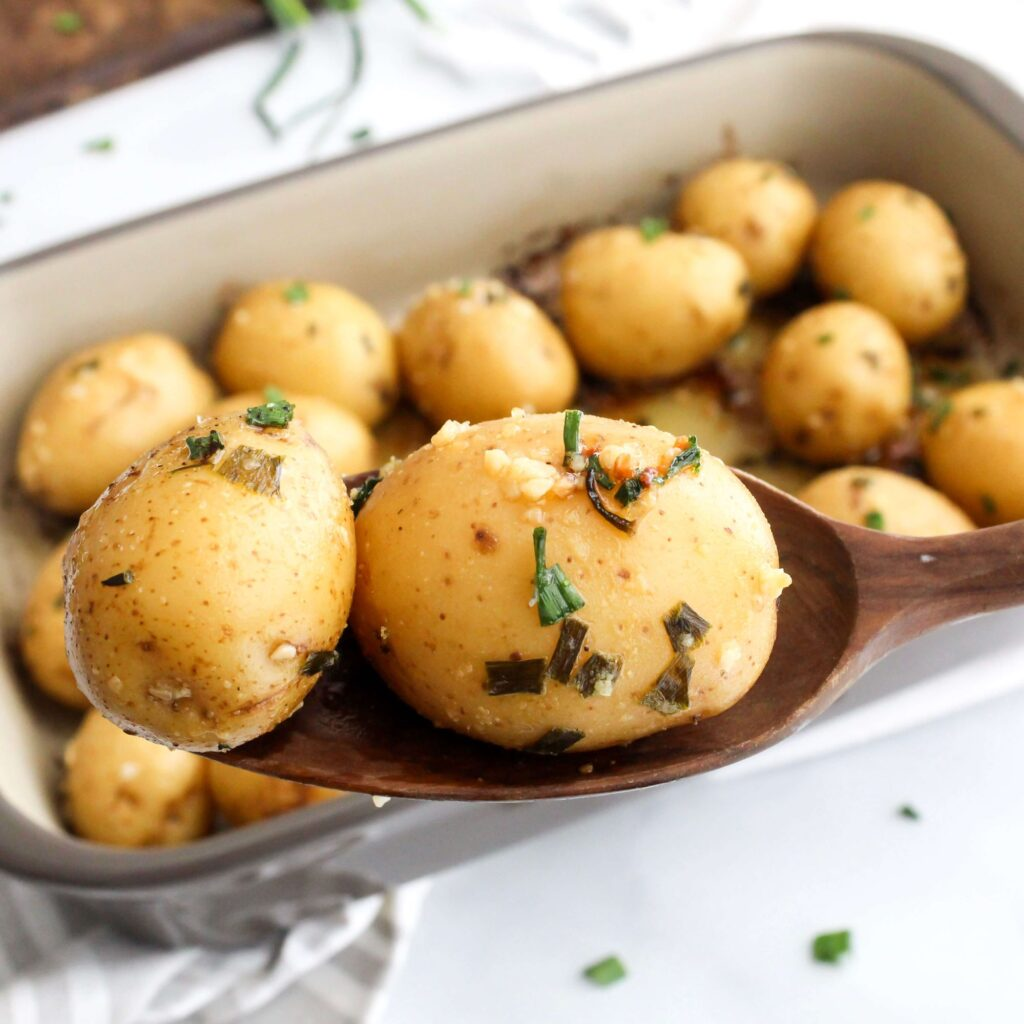 Garlic and Chive Roasted Baby Potatoes