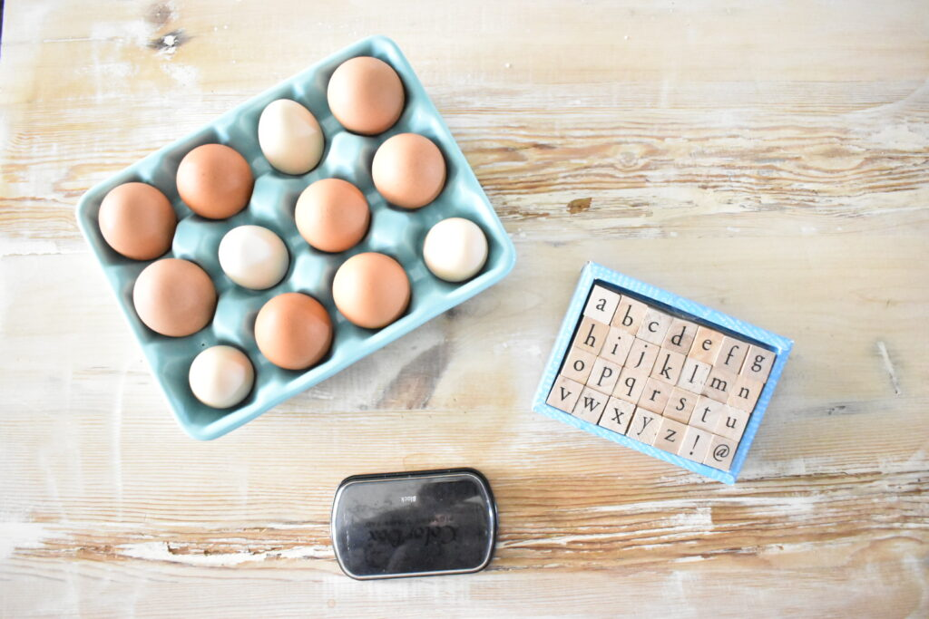 stamped egg place card supplies