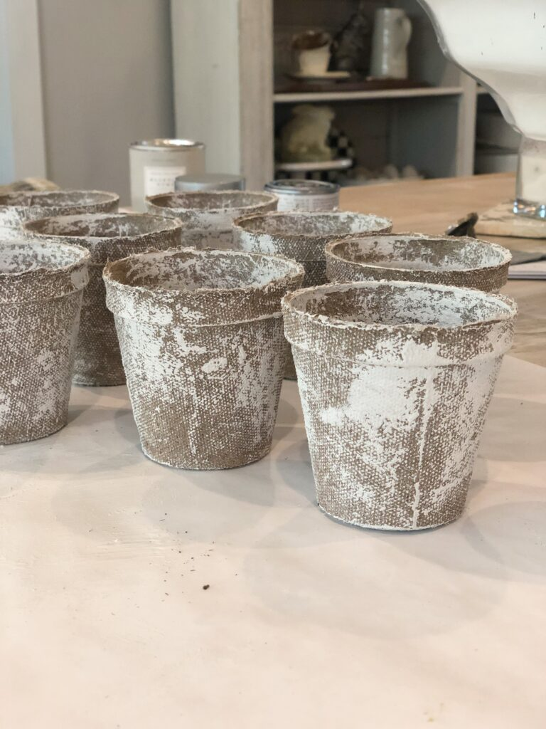 painting peat pots for wreath