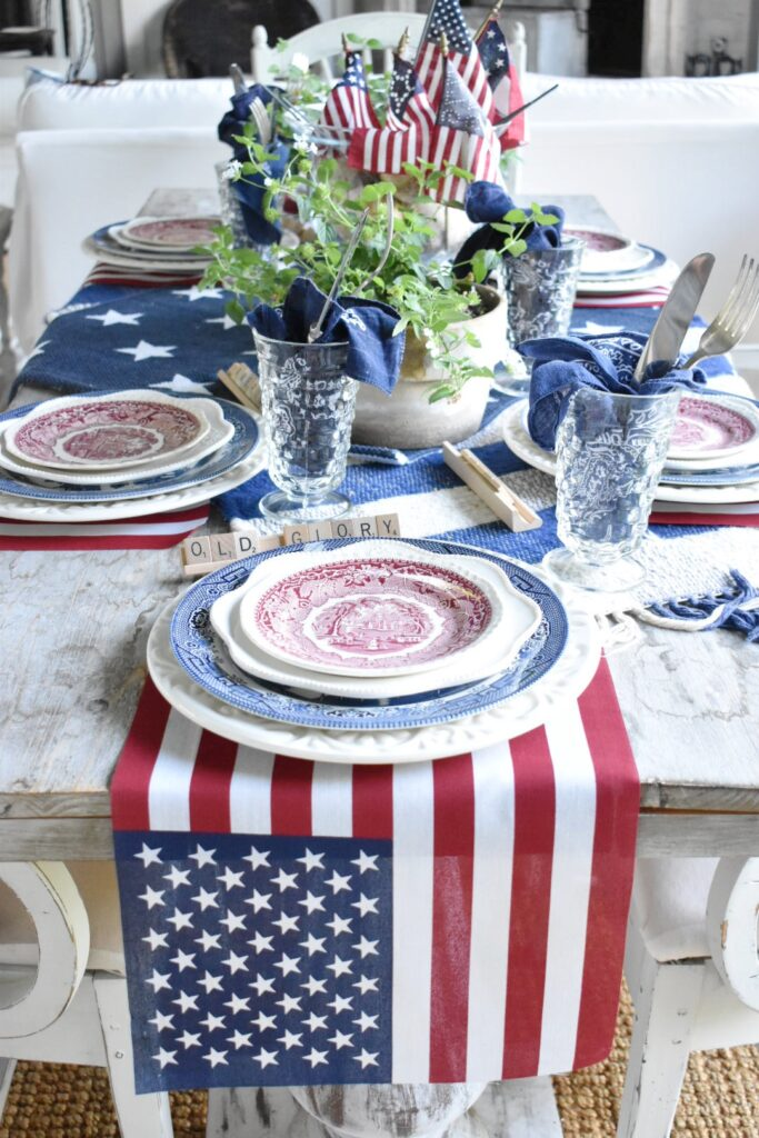red white and blue tablescape