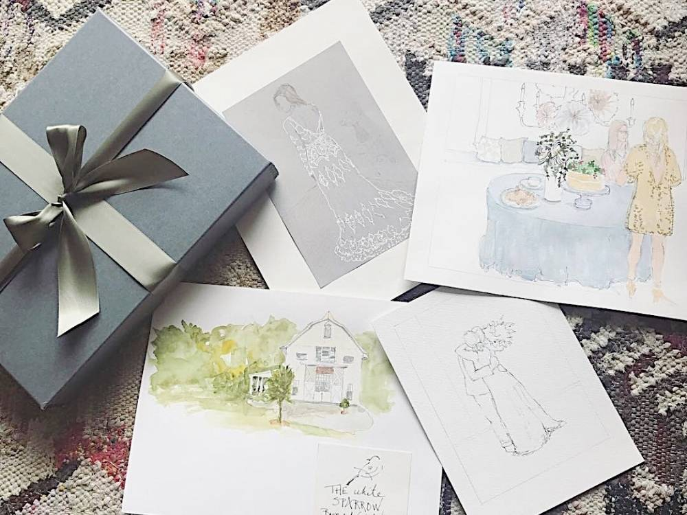 drawings and watercolors of details of the wedding