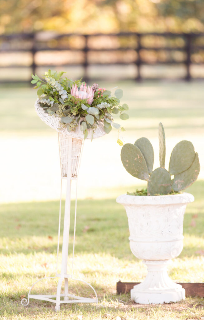 large cactus planted in a white urn and the brides bouquet standing in a vintage wicker plant stand