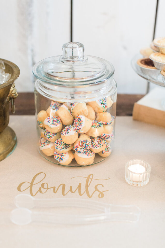 glass jar filled with donut holes