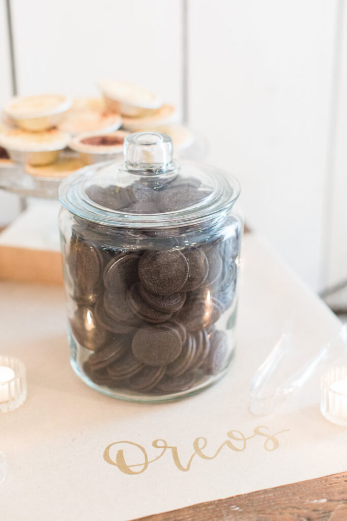 glass jar filled with oreos