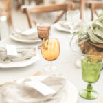 place settings at a boho style wedding reception