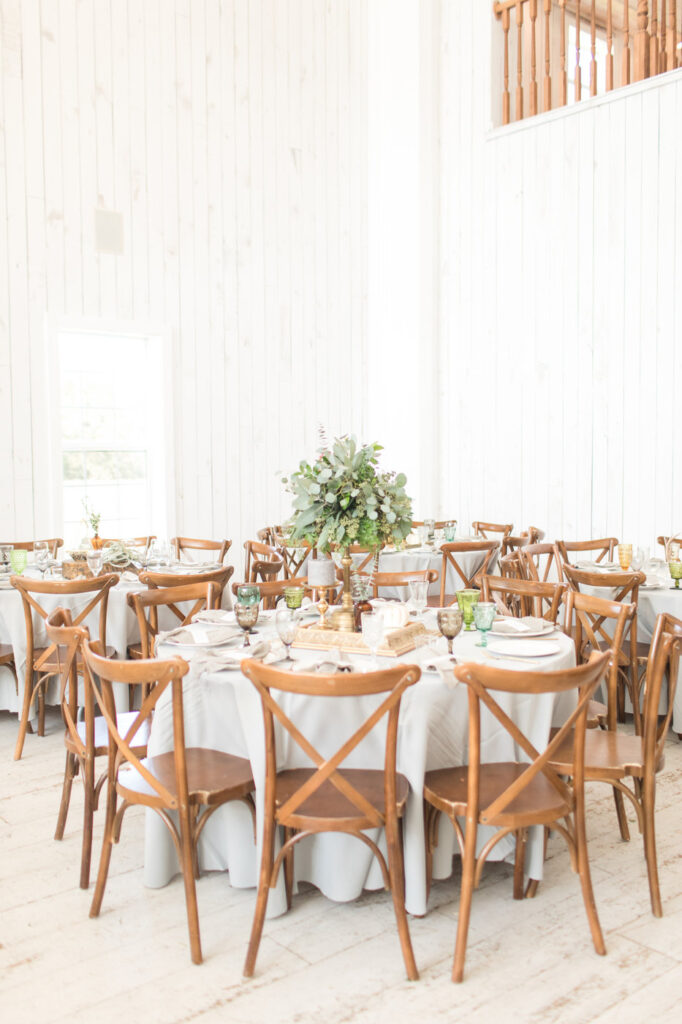 tables at a boho style wedding reception