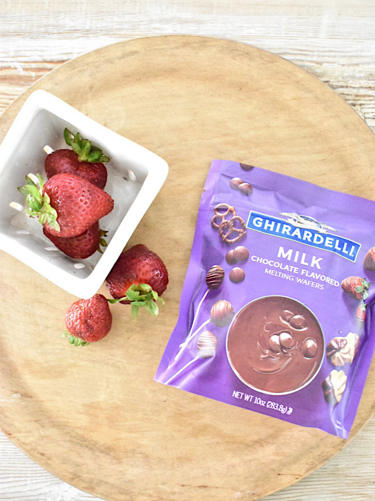 ingredients for chocolate covered strawberries, ghiradelli milk chocolate melting wafers