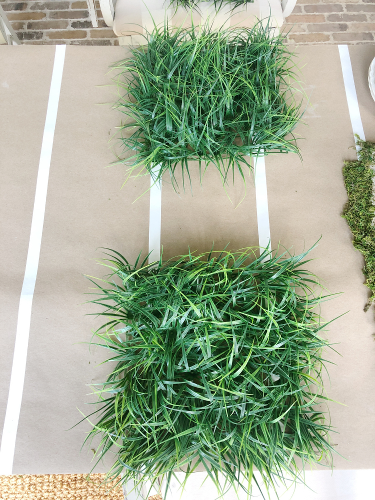 faux grass squares used for placemats