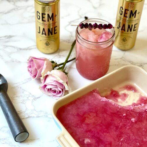 Garden in A Glass: Rose Granita Float Featuring Gem + Jane Yuzu Raspberry Rose