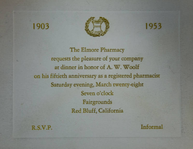 Elmore Pharmacy A. W. Woolf 50th Anniversary as a Pharmacist
