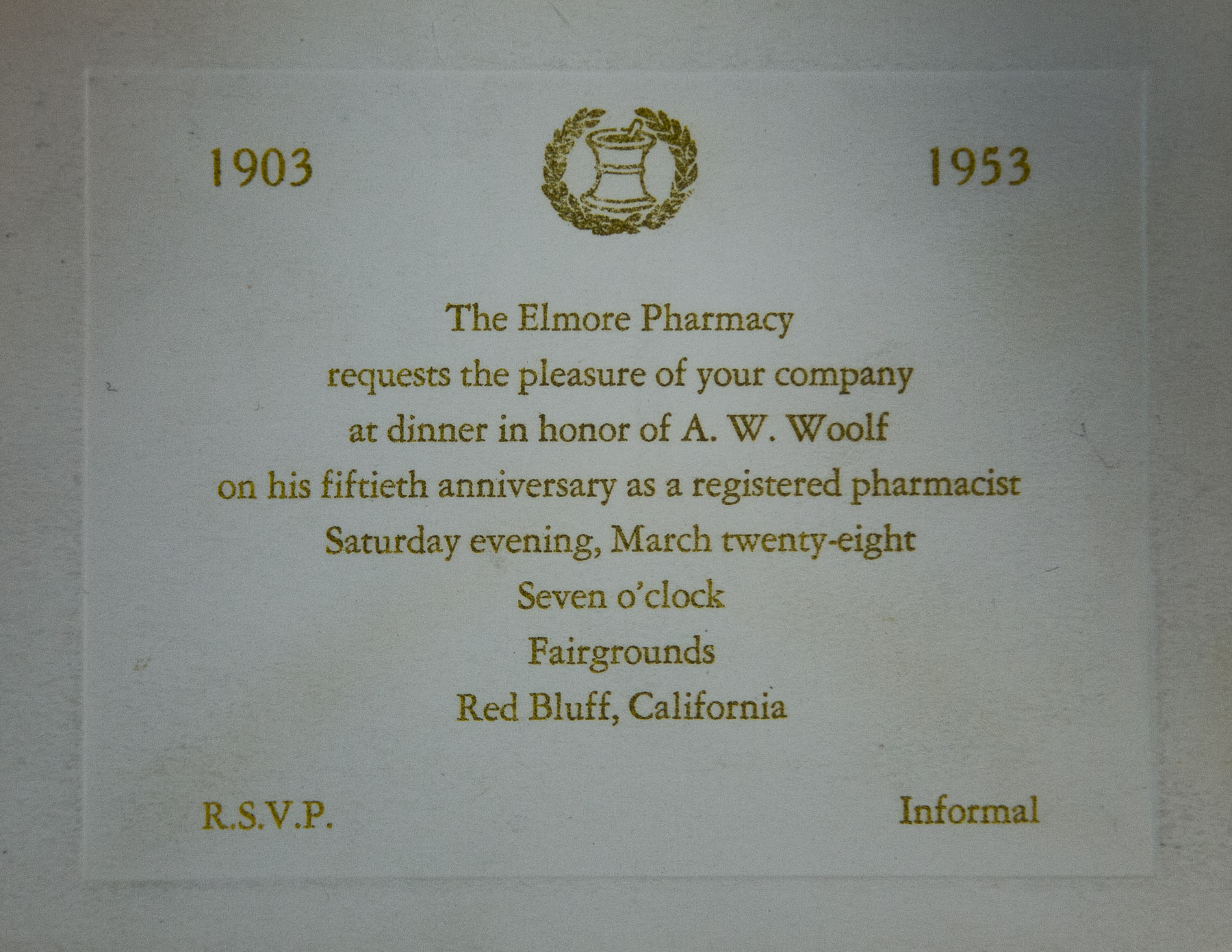 1953 Elmore Pharmacy A. W. Woolf 50th Anniversary as a Pharmacist