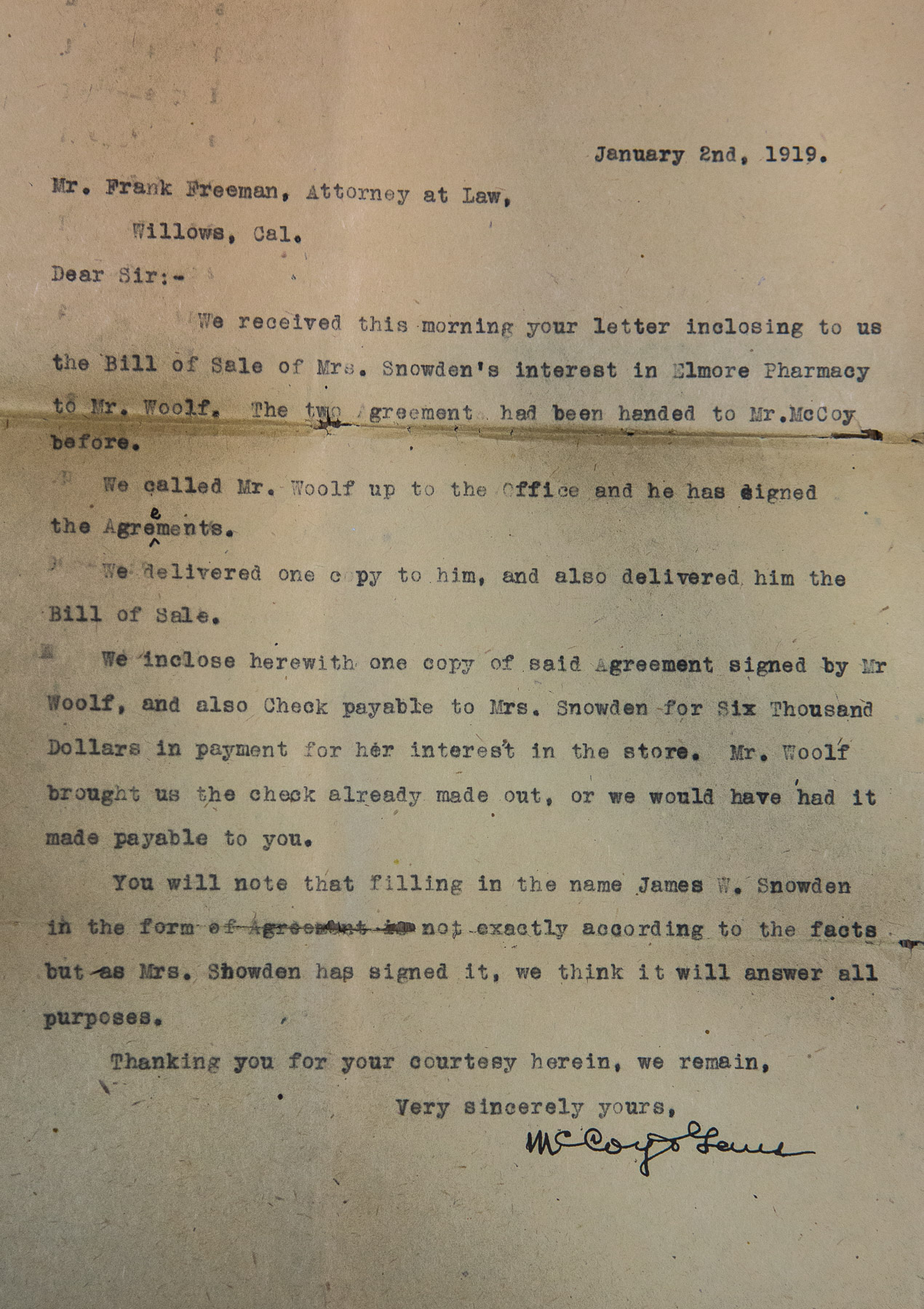 1919 Bill of Sale of Mrs. Snowden's interest in Elmore Pharmacy to Mr. Woolf