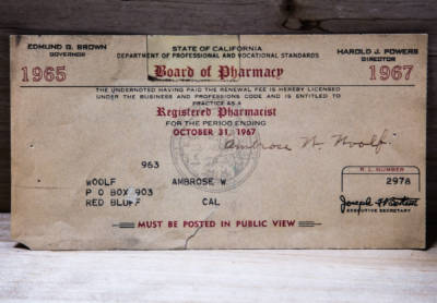 1967 A. W. Woolf Registered Pharmacist License
