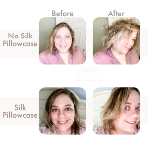 before and after silk pillowcases