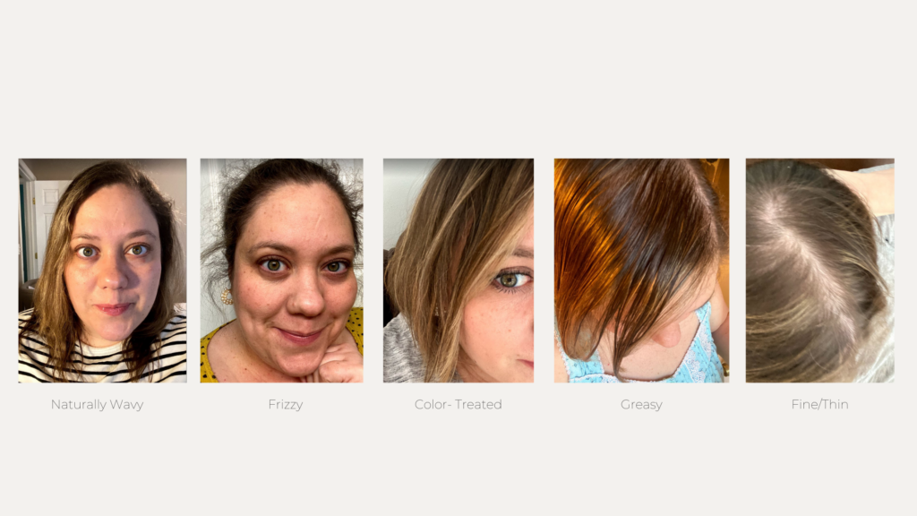 Naturally wavy, frizzy, color-treated, greasy and fine thin/hair