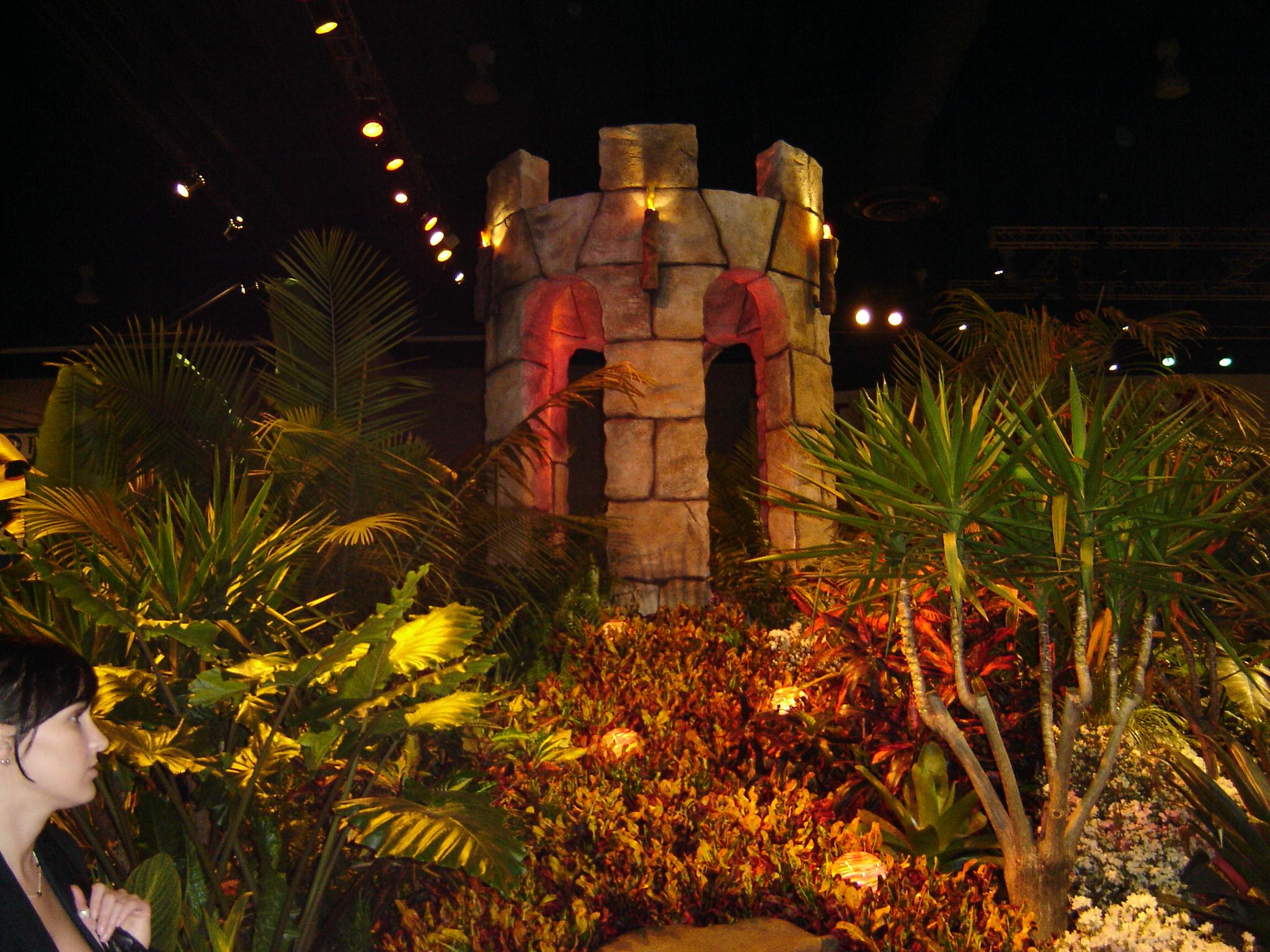 Castle set piece with plants