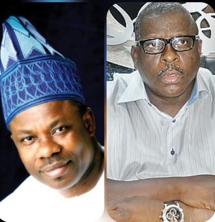 A collage of Senator Ibikunle Amosun, and Late Senator Buruji Kashamu