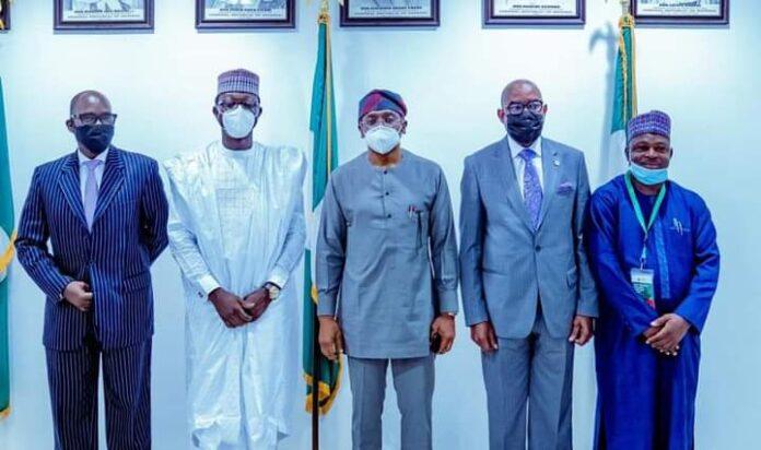 2nd from left, Executive Director, Business Development, Federal Housing Authority (FHA), Hon. Abdulmumin Jibrin; middle, Speaker, House of Representatives, Femi Gbajabiamila; 3rd from right, MD, FHA, Senator Gbenga Ashafa.