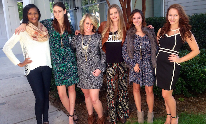six ladies posing for Apricot Lane Boutique