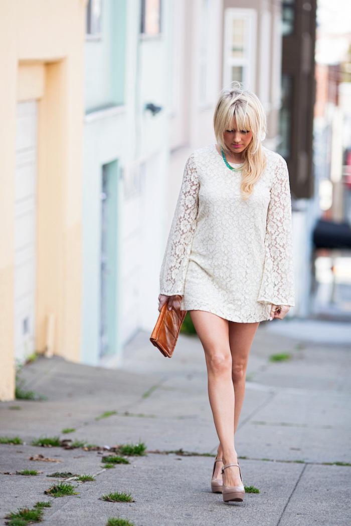 Dale Steliga - Savvy Spice fashion blog -long sleeve lace H&M dress 34.95 nude heels Stella & Dot necklace