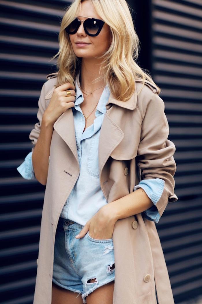 Le-Fashion-Blog-Trench-Coat-Chambray-Shirt-Cut-Off-Denim-Shorts-Via-Jess-Stein-Tuula-Vintage