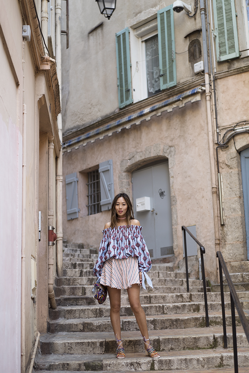 aimee_song_of_style_caroline_constas_off_the_shoulder_top_privacy_please_stripe_skirt_chloe_rainbow_net_sandals_embellished_bag