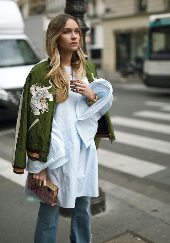 le-fashion-blog-blogger-style-ombre-hair-embroidered-green-bomber-coat-white-flare-sleeved-shirt-clutch-cuffed-denim-via-nina-suess