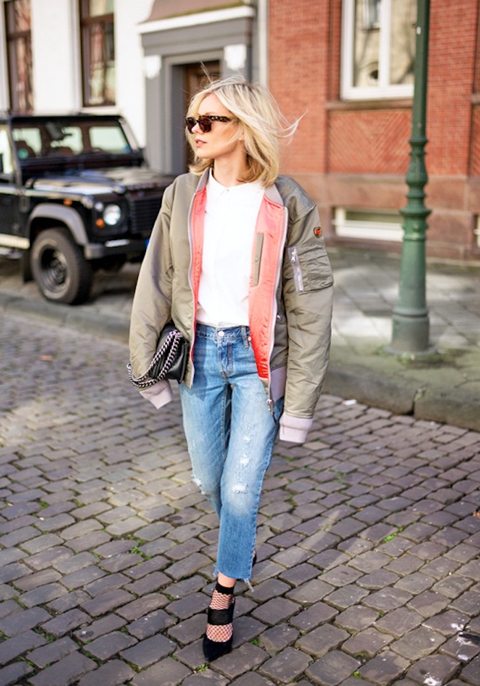 le-fashion-blog-blogger-style-sunglasses-green-bomber-jacket-white-top-ripped-jeans-mesh-socks-black-wide-strap-heels-via-lisa-rvd