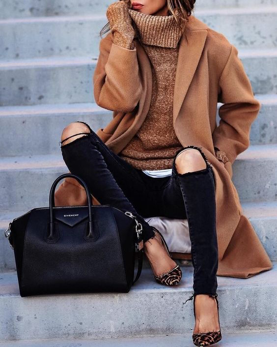 woman in brown coat