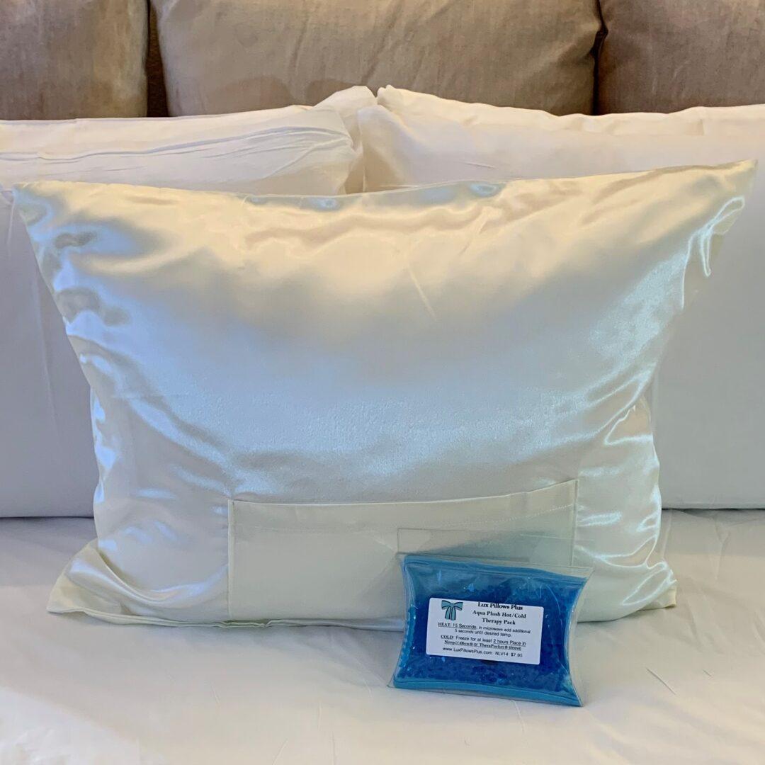 TheraPocket®Satin Pillowcase in Ivory Cream